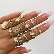 Women's 15 Pcs Ring Set Retro Stylish Hollow Floral Design Ring Suit, Women Bohemian Vintage Stack Rings