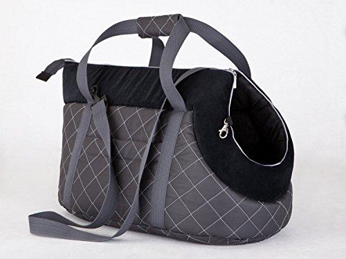 PKWelt HobbyDog Hundetragetasche Hundetransporttasche Transporttasche Tragetasche Graphit und Schwarz mit Kariert -