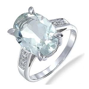 Vir Jewels, Bague Femme Argent fin 925/1000 Vert Amethyste 5 Karat, T 59