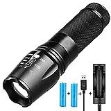 Linterna LED,Linterna Táctica,Alta Potencia Recargable 2000 Lumens Flashlight de 5 Modos para...