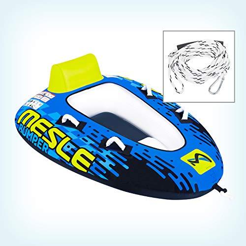 MESLE Tube Package Bumper mit 2P Schleppleine, Towable für 1 bis 2 Personen, Inflatable Fun-Tube Multi-Rider Cockpit-Tube, blau Lime weiß, Farbe:Leine PPK White -