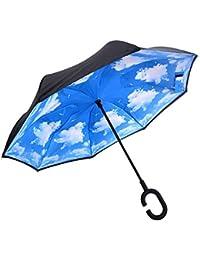 AUTOPkio Manos en forma de C invertida FreeHandle Paraguas, doble capa invertida Permanente interior hacia fuera del paraguas protector contra la lluvia