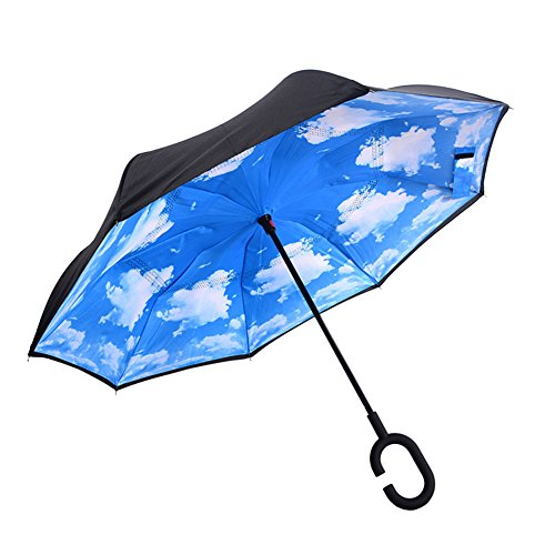 AUTOPkio C-förmigen Hands Free Handle Umgekehrten Umbrella, Double Layer Umgekehrten Standing Inside Out Regenschutz Regenschirm (Double-layer-regenbogen)