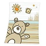 Herding 149581014Luis Couverture pour bébé ours, 75x 100cm, 100% polyester, peluche microfibre