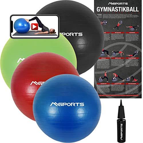 MSPORTS Gymnastikball Premium Anti Burst inkl. Pumpe + Workout App GRATIS 55 cm - 105 cm Sitzball - Fitnessball inkl. Übungsposter Medizinball (75 cm, Königsblau)