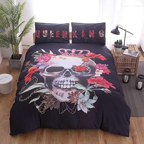 Fcao-Bettwäsche, 200TC 3 STÜCKE Pflegeleicht Tröster Set Bettwäsche Set + Blatt + Kissenbezug Rose Crown Knochen Schlafzimmer Dekoration Bettwäsche, Königin/Single/König -