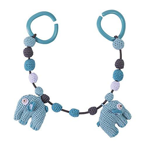 Sebra Häkel-Kinderwagenkette, Elefant, wolkenblau, Jungen, Kinderwagenkette Blau, Geburtsgeschenk, L 53cm NEU