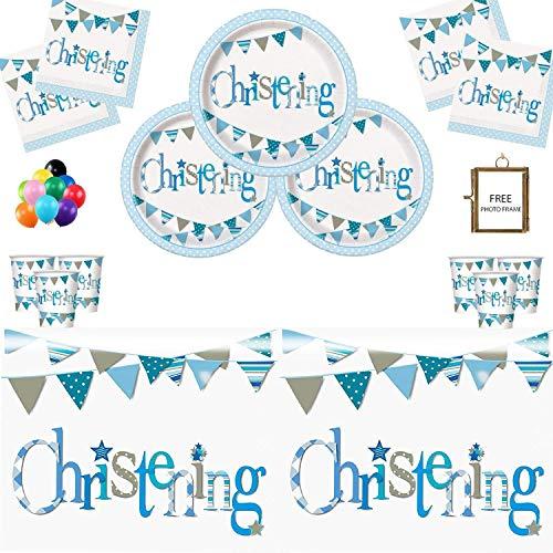 Christening Party Supplies Taufe Partei liefert blau Taufe Dekorationen für Jungen 16 Gäste Geschirr frei Foto Frame & Balloons