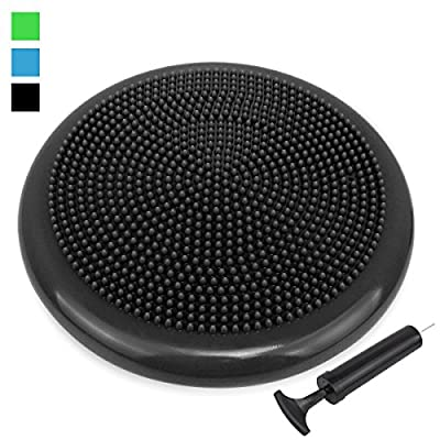 Extra Thick 34 / 35cm Matte Surface Balance Cushion, Air Stability Wobble Board, Wobble Cushion, Posture Trainer, Balance Board, TRIDEER Anti-Burst Fitness Stability Pad in Anti-Slip Surface, with Free Pump - for Improving Posture, Supports Muscle, Physic