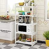 Kitchen Furniture - Horno de microondas Tipo de Piso en Rack Estante de Almacenamiento de Cocina de múltiples Capas, Enviar 3 Ganchos WXP (Color : Blanco, Tamaño : 60X40X140CM)