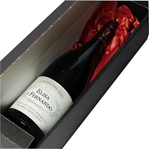 Calledelregalo Regalo Personalizable para Parejas por su Boda: Botella de Vino Personalizada con Sus Nombres y la dedicatoria Que tú Quieras