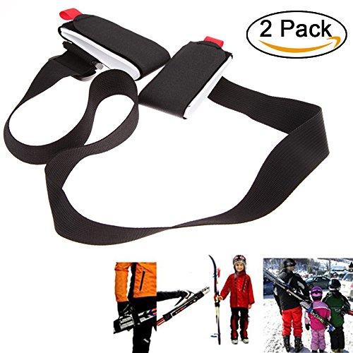 Ski Tragegurt, 2 Pcs einstellbar Nylon Ski Schultergurt, Ski Haltegurt für Snowboard (schwarz)