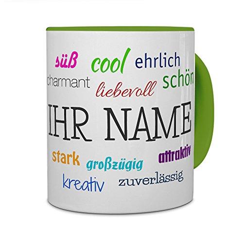 PrintPlanet® Tasse mit Namen personalisiert - Motiv Positive Eigenschaften individuell gestalten - Farbvariante Grün
