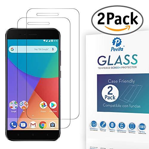 Pevita Protector de Pantalla Xiaomi Mi A1. [2 Packs]. duresa 9H, sense Bombolles, Fácil Instalación. Protector de Pantalla de Cristal Templado Premium para Xiaomi Mi A1 (Case Friendly, Transparent)