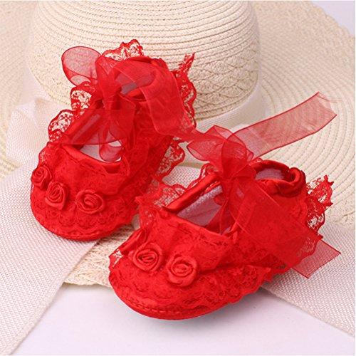 Zhuhaitf Excellent Baby Girl Soft bottom Princess Shoes Newborn Lace Flower Non-Slip Shoes xsx012 red