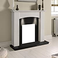 """White Marble Stone Modern Curved Surround Black Granite Hearth & Back Panel Electric Wall Fireplace Suite with Downlights - 3"""" rebate"""