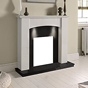 "White Marble Stone Modern Curved Surround Black Granite Hearth & Back Panel Electric Wall Fireplace Suite with Downlights - 3"" rebate"