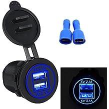 Bexcellent Dual USB DC12V-24V 4.2A Toma USB Cargador de la Energía del Adaptador de Enchufe de Encendedor del Coche Zócalo para Coche Motocicleta(Azul)