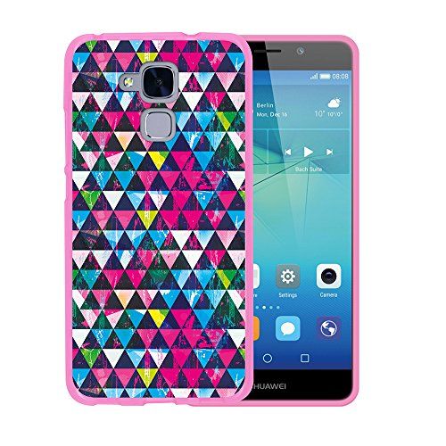 WoowCase Huawei GT3 Hülle, Handyhülle Silikon für [ Huawei GT3 ] Strahlende Dreiecke Grunge Wirkung Handytasche Handy Cover Case Schutzhülle Flexible TPU - Rosa