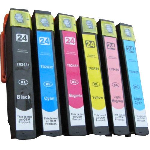 6 comp. cartuchos de impresora xl para Epson Expression Foto XP 750 760 850 860 950 XL versión 1 x negro 1 x azul 1 X rojo 1 x amarillo 1 x rojo claro 1 x luz azul