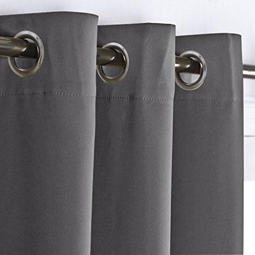 Vorhang Blickdichte Vorhänge mit Ösen – PONY DANCE 2 Stücke Verdunkelungsvorhänge mit Ösen, Energiespar & Wärmeisolierend, einfach modernes Stil für Schlaf und Wohnzimmer, 158cm x 132 cm (H x B), Grau - 2