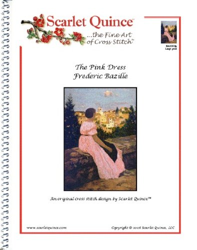 Kleid Größe Diagramm (Scarlet Quitte baz001lg die pink Kleid von Frederic Bazile Kreuzstich Diagramm, groß Größe Symbole)