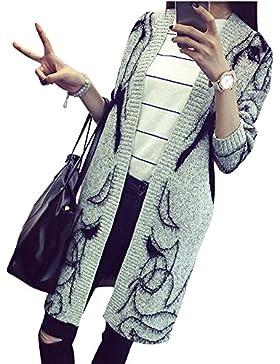 Mujer sección larga estilo sencillo De Suéter bordado rebeca de la capa Negro