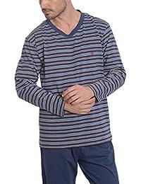 El Búho Nocturno Pijama de Caballero | Pijama de Hombre Largo Moderno de Entretiempo, a