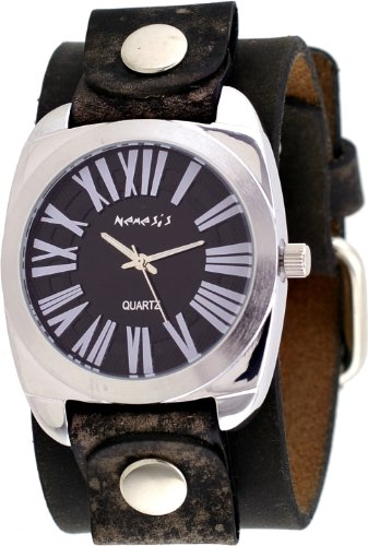 Nemesis #NFBB098K Men's Roman Retro Collection Black Dial Wide Leather Band Watch