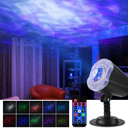 Qomolo Projektor Lampe Kinder, 2 in 1 Ozean Sternenhimmel LED Projektor Nachtlicht Projektor Stimmungslichter Romantische Nachtlampe Projektor, Ozean Projektor für Kinder Schlafzimmer Wohnzimmer Party