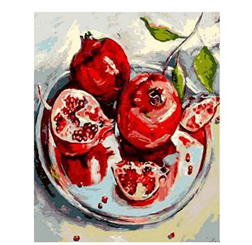 RFGED Malen Nach Zahlen Kits Granatapfel Romantische Schönes Bild DIY Landschaft Muster Öl Bild Zeichnung Home Decor Art Geschenk Leinwand Kinder 40x50cm -