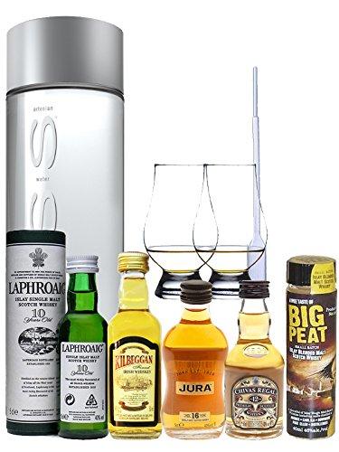 Whisky Probierset Chivas Regal 5cl, Isle of Jura 16 5cl, Kilbeggan 5cl, Laphroaig 10 5cl, Big Peat 4cl + 500ml Voss Wasser Still, 2 Glencairn Gläser und eine Einwegpipette