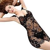 MERICAL Frauen Spitze Unterwäsche Nachtwäsche Nachtwäsche Kleid G-String Versuchung(XL,Schwarz)
