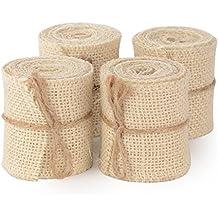 Advantez Paquete de 4 paquetes de arpillera de color sólido cinta de embalaje de tela de embalaje 2.3 pulgadas X 2 Yard DIY decoración de la boda de Navidad (marfil)