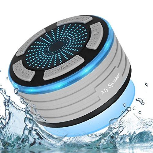 Altoparlante Bluetooth 4.0 Speaker da Doccia con Handsfree Microfono Incorporato Radio FM, IP67 completamente impermeabile radio da doccia con luci LED, USB per Spiaggia/Bagno/Casa/Esterno(support iPh Grigio