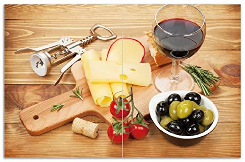 Wallario Herdabdeckplatte/Spritzschutz aus Glas, 2-teilig, 80x52cm, für Ceran- und Induktionsherde, Motiv Genuss am Abend - Rotwein, Käseplatte, Oliven und Tomaten