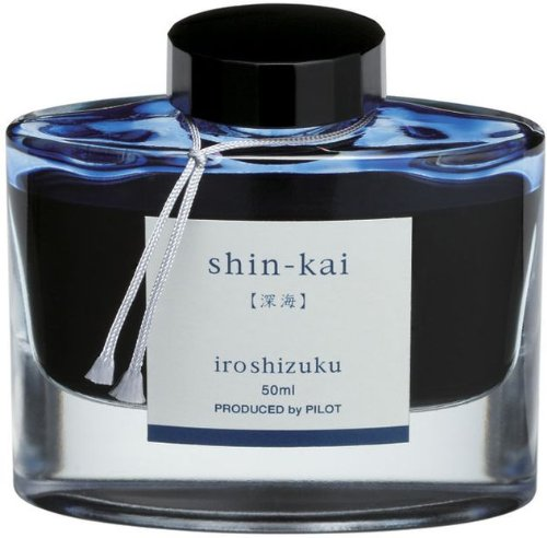 Pilot Iroshizuku Füllfederhalter Tinte in Flaschen, shin-kai, deep sea, blau schwarz (69225)