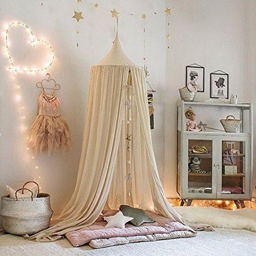 Restbuy Kinder Betthimmel Baldachin aus Baumwolle Mückenschutz Moskitonetz Insektenschutz Baby indoor Play Lesen Zelt Dekoration für Bett und Schlafzimmer (Khaki)
