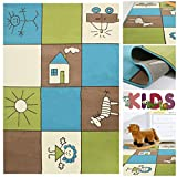 Kinderteppich Spielteppich Bunt Kariert mit Kästchen | Teppich mit Karo Kinder Motiv für Mädchen & Jungen | Kids Teppiche fürs Kinderzimmer, Babyzimmer & Spielzimmer in Blau Grün Creme und Braun, Farbe:Bunt;Größe:120x170 cm