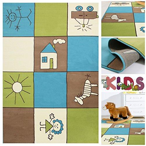 Kinderteppich Spielteppich Bunt Kariert mit Kästchen | Teppich mit Karo Kinder Motiv für Mädchen & Jungen | Kids Teppiche fürs Kinderzimmer, Babyzimmer & Spielzimmer in Blau Grün Creme und Braun, Farbe:Bunt;Größe:80x150 cm