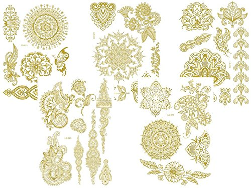 Beyond 5 fogli flash metallic tatuaggio 1-5 oro henna tattoos tatuaggi temporanei
