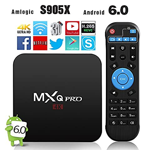 2017 neueste Modell Globmall MXQ Pro Android 6.0 TV Box AmlogicS905X 64 Bits Quad Core und Unterstützung 4K (60Hz) Full HD / H.265 / WiFi 2.4GHz