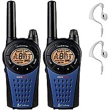 12 Km Cobra MT975 Walkie Talkie 2 Tomas PMR Radio Paquete Doble + 2 x Comtech CM-15PT Auriculares