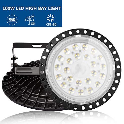 LED UFO, 100W Led Hallenstrahler, 6000K-6500K Kaltweiß, 120°Abstrahlwinkel Industrielampe, IP65 Wasserdichte - SMD2835 96Leds