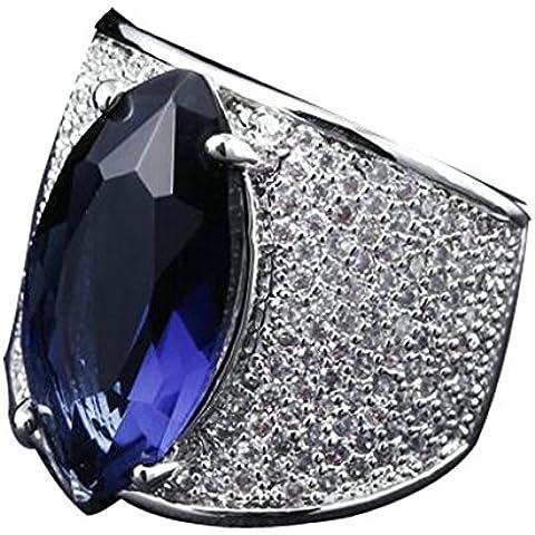 Fedi Nuziali Donna Placcato Oro Zirconia Cubicia Blu Taglia Cz Glittering Rubby 17 Da (14k Diamante Tiffany Anello Setting)