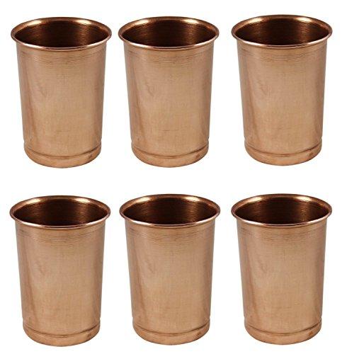 Reines kupfer wasser trinken gläser set 6, ayurvedische produkte 350 ml