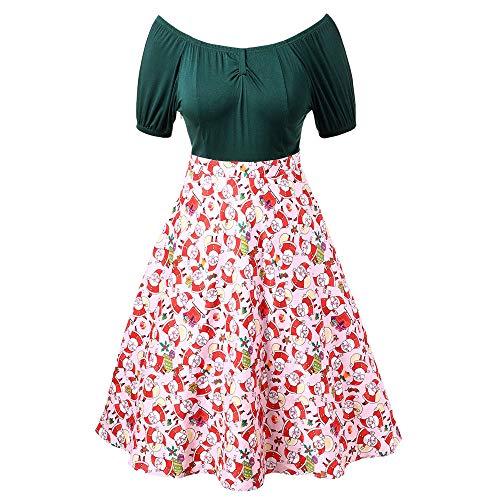 Weihnachten Ballkleid Damen,Elecenty Frauen Schulterfrei Ballkleider Kurzarm Abendkleid Drucken Partykleid Prinzessinenkleid