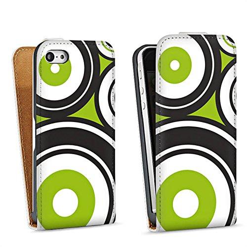 Apple iPhone 5s Housse étui coque protection Cercles Vrilles Vert Sac Downflip blanc