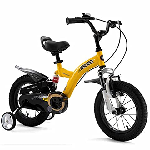 Convenient Children's bike, Double shock 12/14/16/18 inch 3-6 years old Boys and girls Bicycle stroller Comfortable ( Color : Yellow , Size : 14 inch )