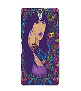 Fuson Flowers Pattern Girl Back Case Cover for SONY XPERIA C5 ULTRA - D3886